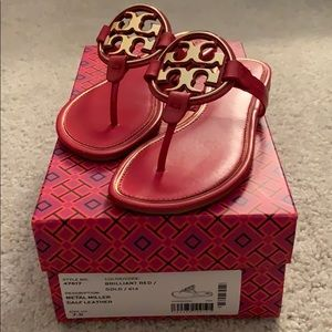 NIB TORY BURCH Miller Metal Leather Sandals